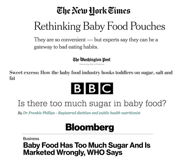 baby food sugar effects squeeze pouches