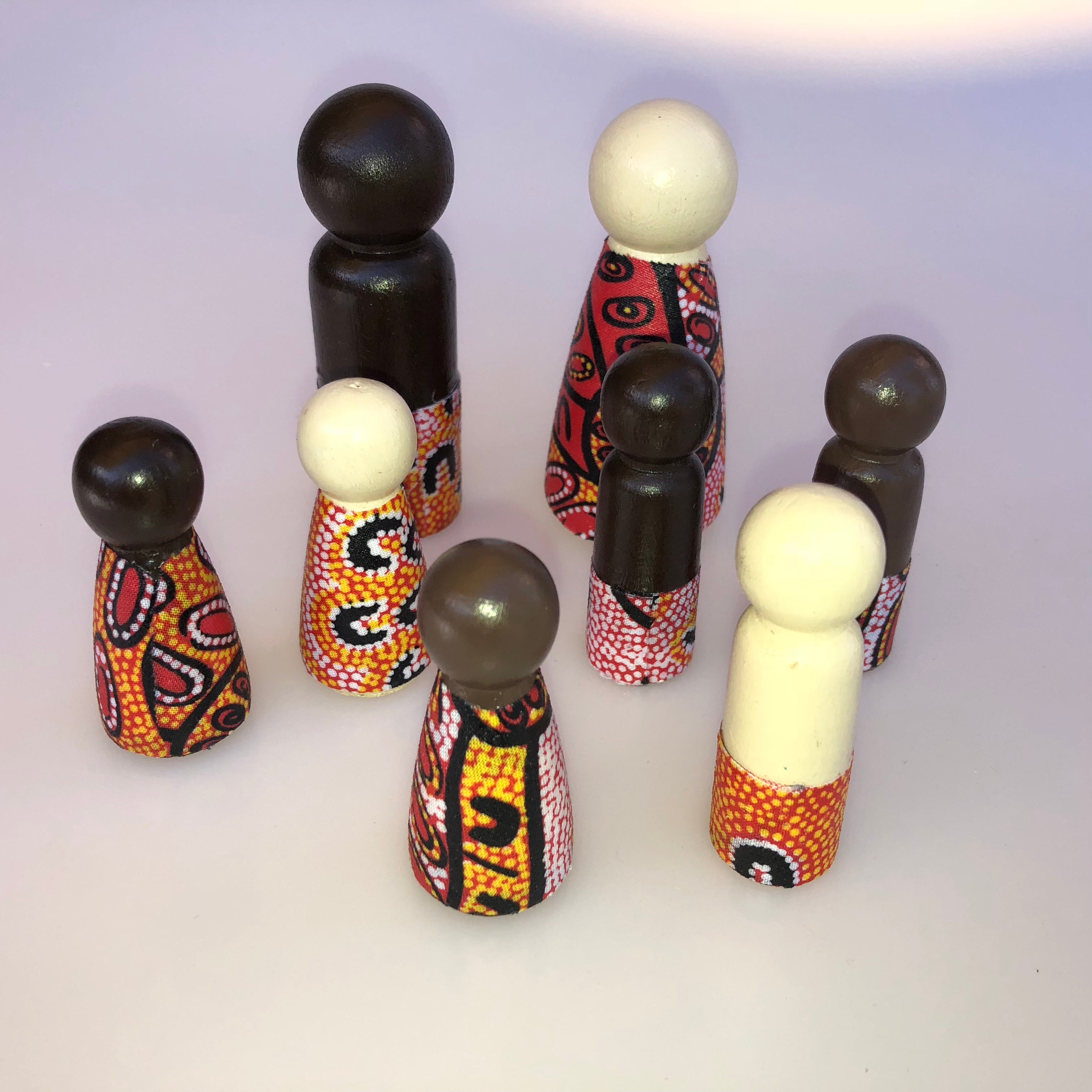 Aboriginal Peg Doll People Indigenous Australian timber toys sustainable Women Dreaming Yellow