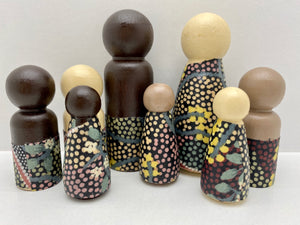 Aboriginal Peg Doll People Indigenous Australian timber toys sustainable Yuendumu Bush Tomato Black