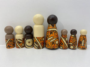 Aboriginal Peg Doll People Indigenous Australian timber toys sustainable Water Dreaming Yellow