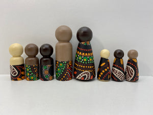 Aboriginal Peg Doll People Indigenous Australian timber toys sustainable Sacred Women's Song Brown