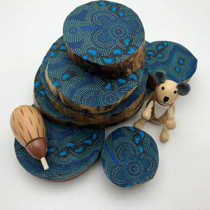Aboriginal Indigenous Australian timber toys sustainable On Walkabout Blue