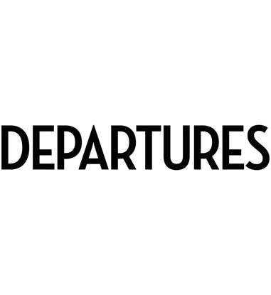 """Departures"" in black, all uppercase font on a white background."