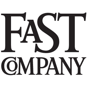 Fast Company magazine logo on two lines in a solid black font on top of a crisp white background.