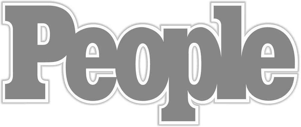 People magazine logo in gray font with white background.