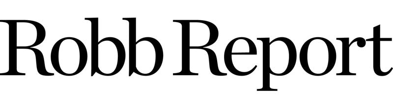 Robb Report text in a large, black newspaper-style font on a solid white background.