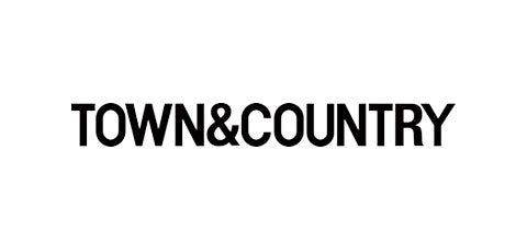 Town and Country magazine logo with all capital letters and black font on a white background.