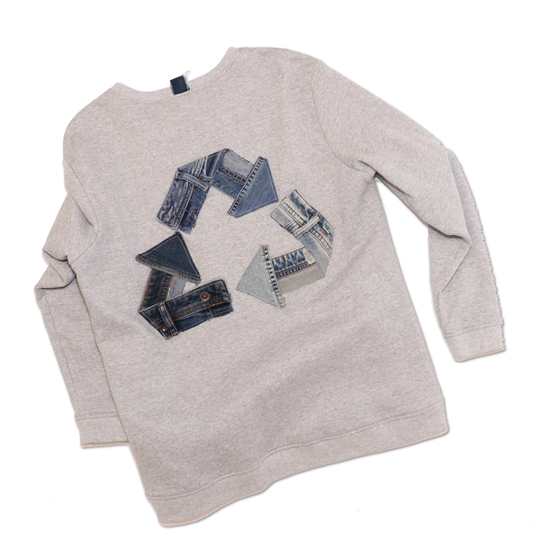 CREWNECK RECYCLE DENIM GRIS
