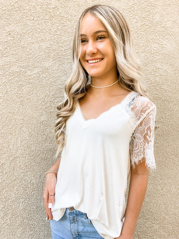 White Lace Sleeve Top