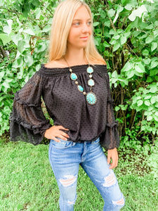 Black off the Shoulder Bell Sleeve Top
