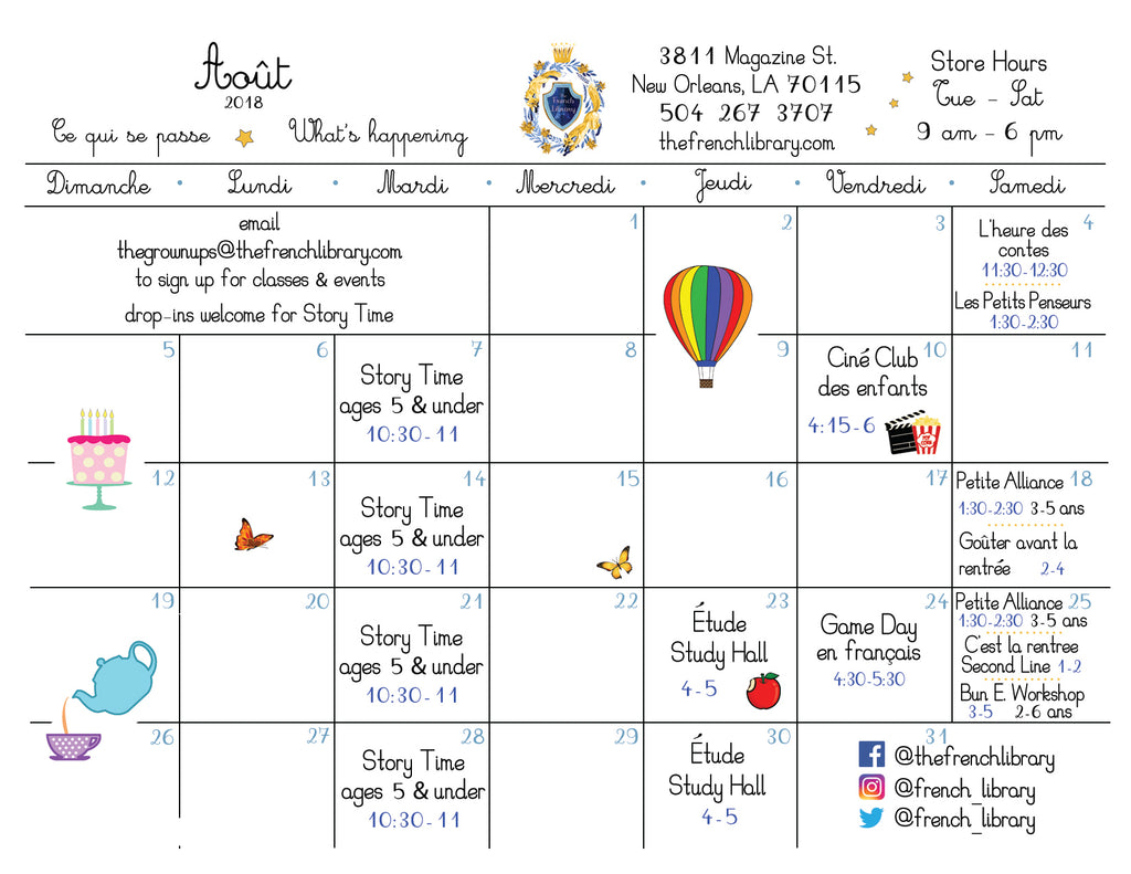 Calendar Events for The French Library in August
