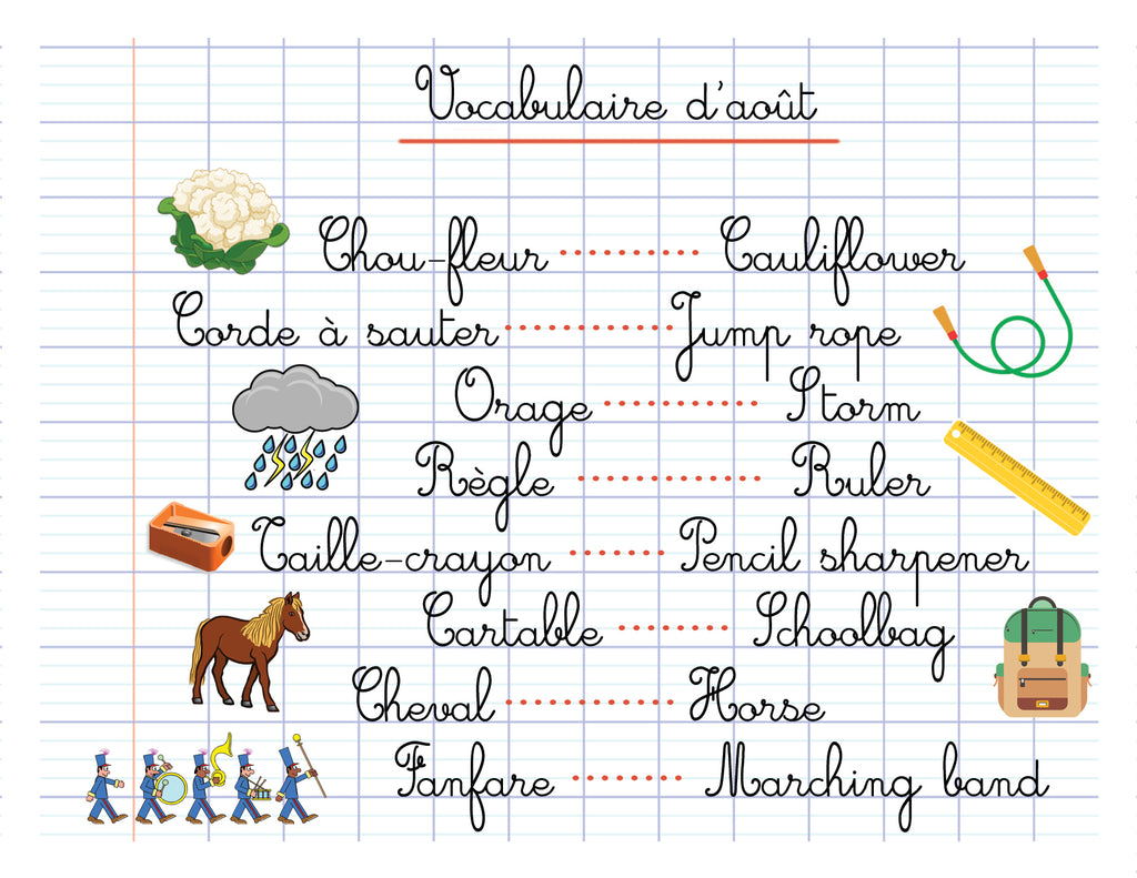 French Vocabulary Words for August