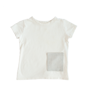 Hemp T-shirt (Cream with natural linen pocket)