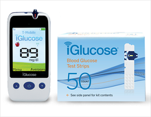 iGlucose® Blood Glucose Monitoring Meter and 50 iGlucose® Test Strips (Outside US)
