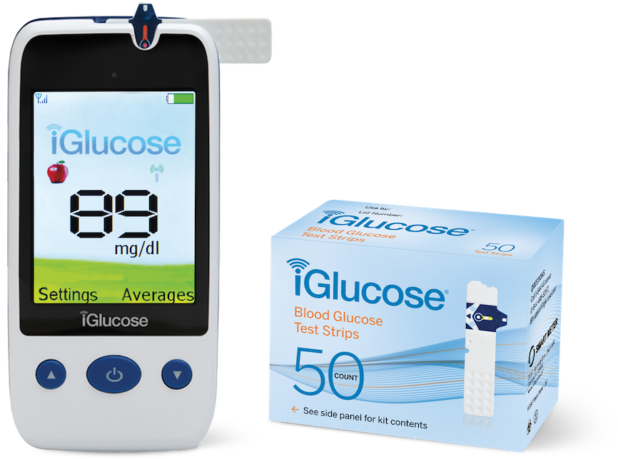 iGlucose® Blood Glucose Starter Kit, Pack of 50 Count Test Strips