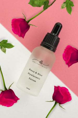 Rose & Aloe Hyaluronic Facial Serum 1% - 30g-Delicate blaze