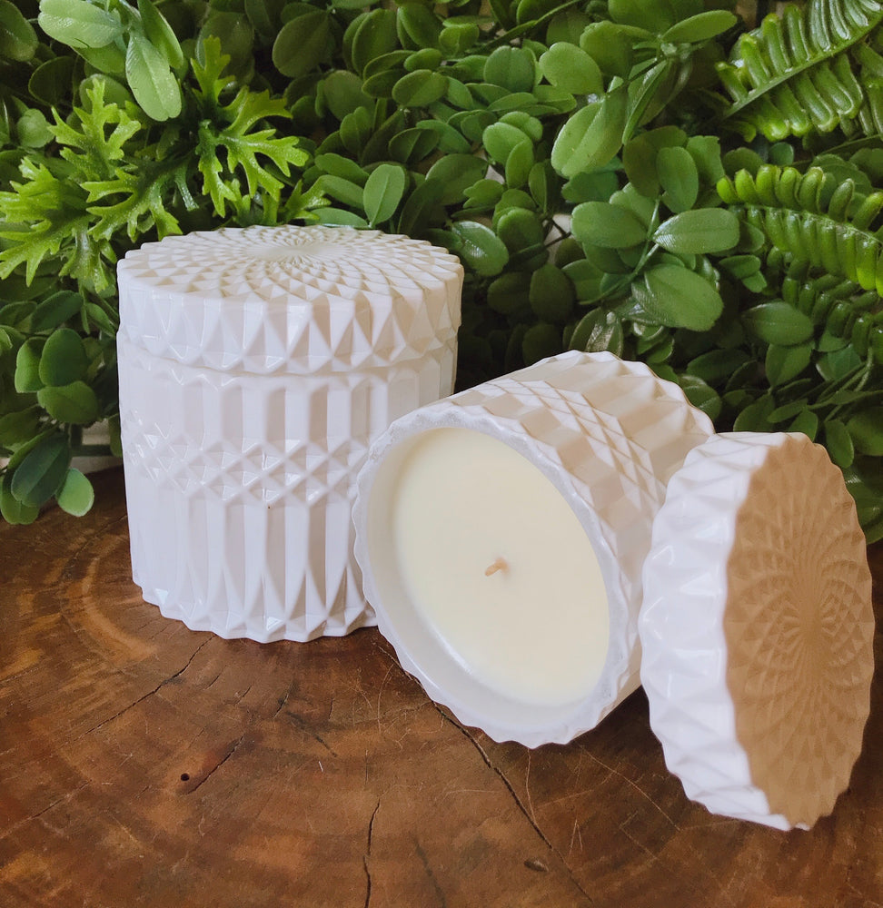 Load image into Gallery viewer, Glossy White Mandala Canister Duo-Delicate blaze
