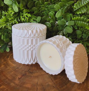 Glossy White Mandala Canister Duo-Delicate blaze