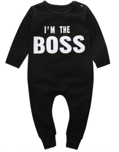 "long sleeve onesie with white ink, ""I'm the Boss"""