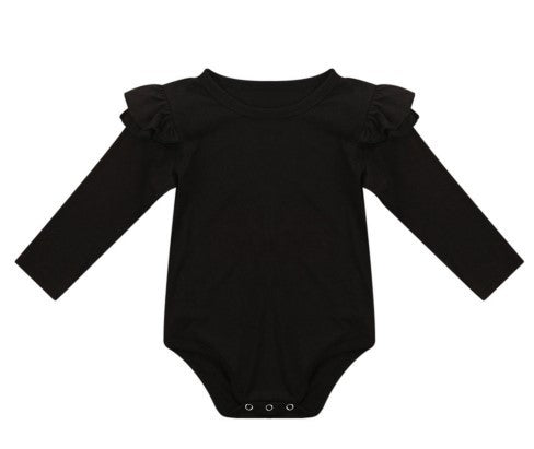 Long sleeve body suit with snaps and frills on the sleeves.