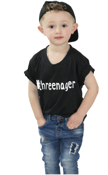 #threenager hashtag threenager black t-shirt