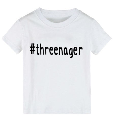 #threenager hashtag threenager white t-shirt