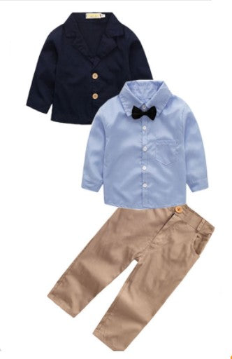 The Benjamin 4 piece set is for our upper classman lil gents! This sophisticated toddler boy outfit will set the tone for his day. Let his style shine through with this 4 piece set. The set includes Long Sleeve Button Down, Collard Jacket (navy), Pants, Bow Tie (black).