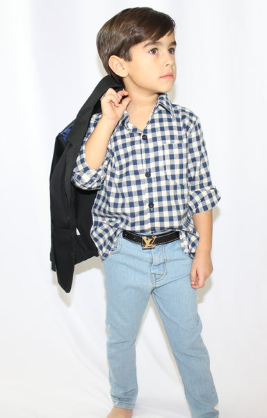 The MJ 3 piece set is a for our classy gents who love to wear timeless pieces. You can make this set as edgy or fashionable depending on how you dress your little man in it. The 3 Piece Set Includes: Long Sleeve Button Down Shirt, Collared Jacket (blue shoulder trim) and Jeans (Belt sold separately).