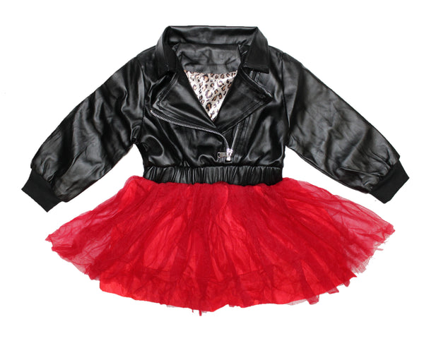 Leather tulle dress. Top part of dress is a leather jacket and the bottom has red tulle. The back of the dress is adorned with a huge diamond in sequins
