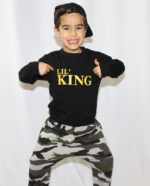 The Lil' King set comes with camo pants and long sleeve shirt. This set is such a cool casual outfit for your little toddler boys.