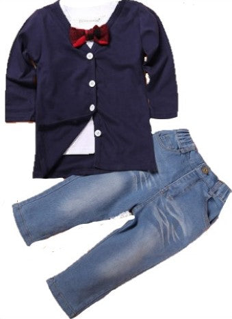 4 Piece Set Includes: Navy Cardigan, Red Bow Tie, Jeans, Short Sleeve Collared Shirt