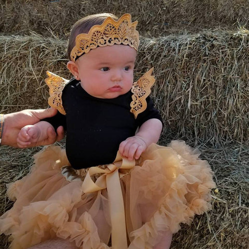 Black long sleeve body suit with added lace on the shoulders. The fluffy tutu is finished with a satin bow. The crown headband is elastic which makes it comfortable for all ages!