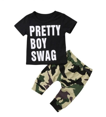 Well, the shirt says it all doesn't it? Pretty Boy Swag 2 piece set comes with a black tee and camouflage pants. Complete the look with our black kicks and LV camo bag!