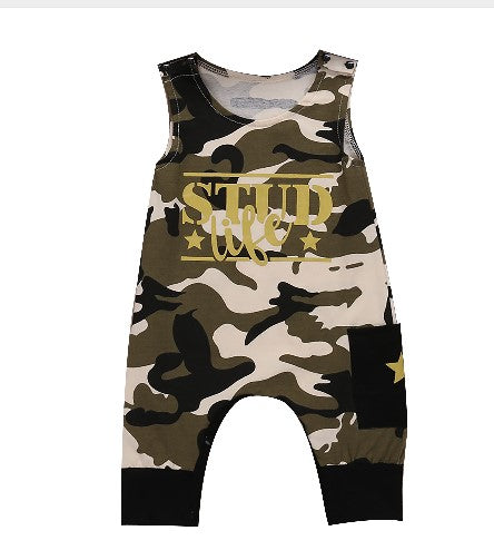 sleeveless camo romper with stud life printed across chest.
