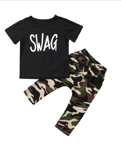 2 piece set includes camo pants & black t-shirt with SWAG written in white