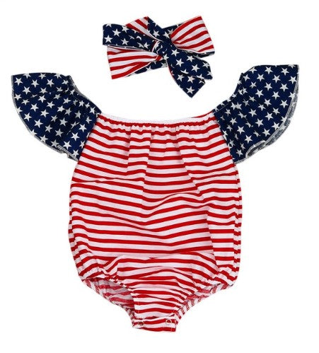 2 piece set includes American flag romper with matching bow headband