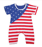 Little boy romper with American flag design. Snaps at bottom of romper for diaper changing