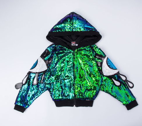 sequin hooded jacket with halter top and shorts. The greek eye lines both sides of the arm.