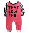 rose pink romper with black and white stripe sleeves and the saying,