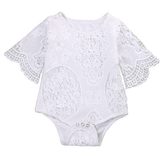 This baby girl's lace fluttered sleeve romper is a closet must have. You can add so much to this to create a fashionable look for you baby diva or simply wear it with little jeggings and she's good to go! There are lace patterns that give this romper that perfect Fall feel. Snaps are located at the bottom for easy changing!
