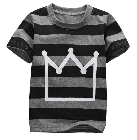 oddler boy outfit comes with a grey and black striped t-shirt, a white crown symbol on the front and black pants with faux leather lining the knees.