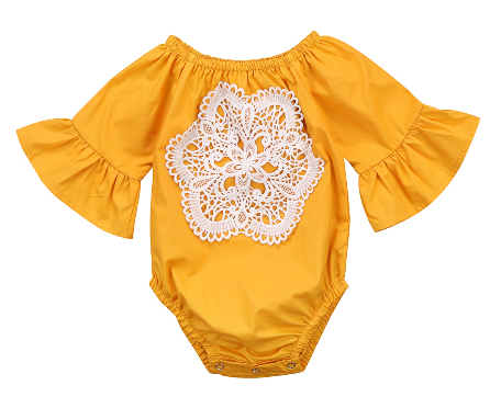 This vibrant Golden Bell sleeved romper is a huge step up from just an ordinary onesie. This romper comes with snaps at the bottom and a huge lace pattern located on the chest. This fashion piece with have your mini diva shining bright. Perfect for Fall activities!