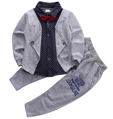 "This 2 piece (YES, only TWO) sweatsuit comes with the sweatpants and the jacket/shirt. The top is one piece all connected and comes with the red bow tie attached. We are loving this set because it is easy to put on and keeps your little man looking super stylish! The pants have ""This is what awesome looks like"" on the left leg."