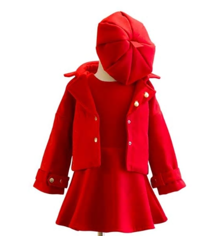 The Madeline 3 Piece set is a holiday must have! It is gorgeous. This 3 piece set comes with the sleeveless dress, collared jacket and cap. The vibrant red color will have your little diva stand out at any party she attends. Pair this with our knee high socks to complete the look. This suit is absolutely darling.