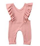 The Ruffle Pink Romper is for the Boho Chic diva girls. This V neck romper is pale pink with ruffles lining the front.