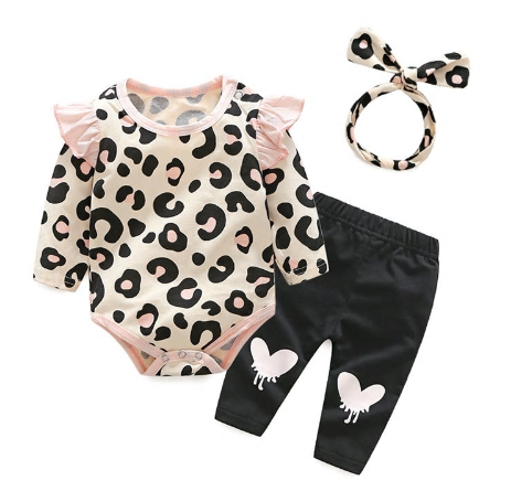 Our Leopard Heart 3 piece set is the perfect matching outfit for your baby diva. Each set comes with the flutter sleeve leopard romper (snaps at the bottoms for easy changing), black stretchy pants with heart design and matching headband