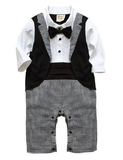 Gearing up for a fancy party? We have your little man covered with our awesome Proper Man Romper. The one piece romper (bow tie and vest attached and snaps at the bottom) is the perfect party outfit for your baby gentleman. This set has all of the check lists for a super fancy outfit but will keep your baby happy because he will feel like he is in pj's!