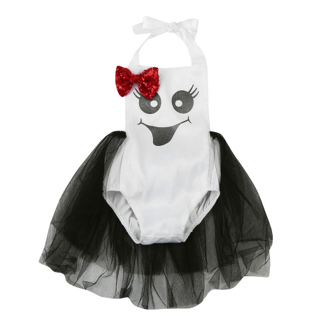 Boo! Our Ghost Romper is so adorable, it's scary! Each romper has black tulle attached to the back. The red sequin bow can be placed anywhere on the romper and the halter top ties in the back with a bow.