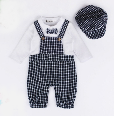 All aboard! The Conductor 2 piece set comes with the overall romper and matching hat. The romper is one piece with snaps located at the bottom for easy diaper changes. The bow tie is attached as well! Super easy and super adorable for your little conductor boy.