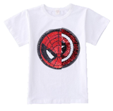 Superhero's unite! This awesome tee can be worn two ways with just the swipe of your hand. One side of sequins is Captain America and the other side is Spiderman. This shirt is so much fun to wear and looks adorable on!